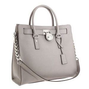 MICHAEL KORS Hamilton Large Gray Leather Tote Bag